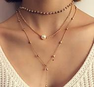 Women's Layered Necklaces Imitation Pearl Circle Oval Round Geometric Jewelry Plastic Alloy Tassel Fashion Bohemian Punk Personalized
