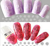 2pcs/Set Fashion Beautiful Black White Rose Design Nail Art 3D Flower Sticker Nail Art DIY Beauty Sweet Rose Design Sticker F109