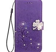 Case For Samsung Galaxy J7 (2017) J5 (2017) Case Card Holder Rhinestone with Stand Flip Embossed Full Body Case Flower Hard PU Leather for J3 (2017)