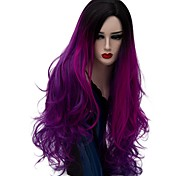 жен. Парики из искусственных волос Без шапочки-основы Длиный Естественные волны Темно-лиловый: Волосы с окрашиванием омбре Парик из