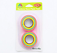 2 PCS/Set Candy Colored Rainbow Paper Tape