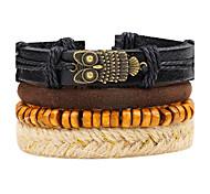 Men's Leather Bracelet Strand Bracelet Wrap Bracelet Handmade Punk Adjustable Personalized DIY Leather Wood Alloy Round Owl Jewelry For