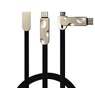 2 in 1 USB2.0 Flat Cable For Samsung Huawei Sony Nokia HTC Motorola LG Lenovo Xiaomi 100 cm PVC