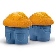 cheap -1pc Jeans Muffin Cup Cake Silicone Chocolate Mold Bakeware Kitchen Baking Cup