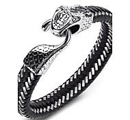 Недорогие -Муж. Мальчики Браслет цельное кольцо Браслет разомкнутое кольцо Кожаные браслеты Панк По заказу покупателя Rock Двусторонний Ручная