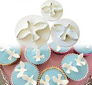 abordables -3 pcs / set colombe forme gâteau décoration fondant laçage plongeur couteaux outils moule fleurs