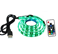 cheap -TV Backlight LED Light bar 1 Meter 60 Lights 5050 LED USB Power Supply RGB Flexible Tape Light With 17 Key RF Remote Control Battery Included