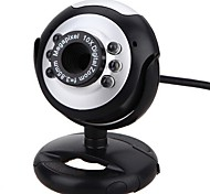 Webcam PC Camera with USB Port Adjustable Holder Built-in Microphone Support Volume Control LED Light