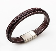 cheap -Men's Women's Leather Leather Bracelet - Fashion Simple Style Round Black Brown Bracelet For Casual