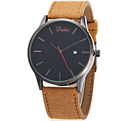 Men's Fashion Watch Chinese Quartz Calendar Large Dial Leather Band Vintage Casual Minimalist Black Brown