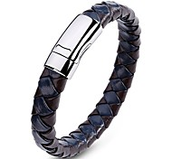 Men's Cuff Bracelet Leather Bracelet Jewelry Fashion Vintage Leather Titanium Steel Geometric Jewelry For Daily Casual