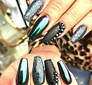 4bottles de estilo verde brilhando efeito de espelho nail glitter powder decoration