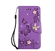 cheap -Case For Samsung Galaxy A5(2017) A3(2017) Card Holder Wallet Rhinestone with Stand Flip Full Body Cases Solid Color Butterfly Hard PU