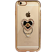 For iPhone 6 iPhone 6 Plus Case Cover Plating Ring Holder Transparent Back Cover Case Heart Soft TPU for Apple iPhone 6s Plus iPhone 6