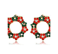 cheap -Women's Kid's Stud Earrings Flower Style Flowers Fashion Chrismas Floral Rhinestone Alloy Flower Jewelry For Christmas New Year