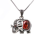 cheap -Women's Elephant Animal Design Fashion Pendant Necklace Chain Necklace Synthetic Ruby Sterling Silver Pendant Necklace Chain Necklace ,