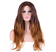 Women Long Dark Brown/Medium Auburn Natural Wave Ombre Hair Natural Hairline Layered Haircut Synthetic Hair Capless Party Wig Halloween