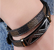 Men's Boys' Bangles Cuff Bracelet Jewelry Fashion DIY Leather Titanium Steel Geometric Jewelry For Daily Office & Career