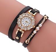Women's Fashion Watch Bracelet Watch Simulated Diamond Watch Chinese Quartz Imitation Diamond PU Band Casual Pearls Elegant Black White