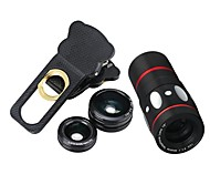 cheap -10x Multi-functional 4 in1 External Camera lens Wide-angle Macro Fisheye Telephoto for Mobile Phone (Black)