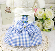 Cat Dog Dress Dog Clothes Casual/Daily Plaid/Check Pink Light Blue Costume For Pets