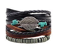 Men's Women's Leather Bracelet Jewelry Fashion Personalized Hip-Hop Handmade Leather Alloy Leaf Jewelry For Daily Casual Street Going out
