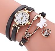Women's Fashion Watch Simulated Diamond Watch Bracelet Watch Chinese Quartz Imitation Diamond PU Band Elegant Casual Black White Blue Red