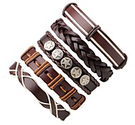 Men's Women's Leather Bracelet Wrap Bracelet Handmade Bohemian Leather Round Irregular Jewelry For Going out Street