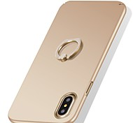 cheap -Case For Apple iPhone X iPhone X iPhone 8 iPhone 8 Plus Shockproof Ring Holder Ultra-thin Back Cover Solid Color Hard PC for iPhone X