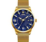 SKMEI Men's Dress Watch Fashion Watch Wrist watch Japanese Quartz Calendar Water Resistant / Water Proof Stainless Steel Band Gold