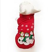 Недорогие -Кошка Собака Толстовка Одежда для собак Для вечеринки Косплей На каждый день Сохраняет тепло Хэллоуин Рождество В снежинку Красный Костюм