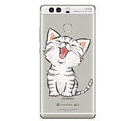cheap -Case For Huawei P9 P10 Transparent Pattern Back Cover Cat Transparent Soft TPU for Huawei P10 Plus Huawei P10 Lite Huawei P10 Huawei P9