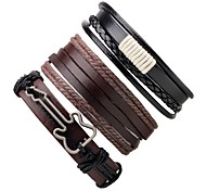 cheap -Men's Women's Leather Bracelet Wrap Bracelet Handmade Adjustable Leather Round Guitar Jewelry Gift Going out Costume Jewelry Coffee