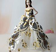 Недорогие -Платья Платья Для Кукла Барби Золотой Платья Для Девичий игрушки куклы