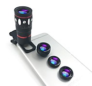 Phone Camera Lens kits Lingwei 4 in 1 Optical Universal Clip-on Telescope 10x Telephoto Lens  Fisheye  Wide Angle  Macro for iPhone / Samsung Galaxy
