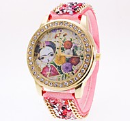 Women's Wrist watch Simulated Diamond Watch Unique Creative Watch Chinese Quartz Fabric Band Flower Cool Black White Blue Red