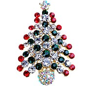 Women's Brooches Rhinestone Simple Sweet Rhinestone Alloy Tree of Life Jewelry For Gift Christmas