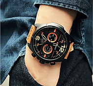 Men's Fashion Watch Wrist watch Casual Watch Chinese Quartz / Leather Band Elegant Casual Black Brown