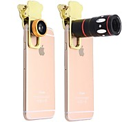 10x Multi-functional 4 in1 External Camera lens Wide-angle Macro Fisheye Telephoto for Mobile Phone (gold)