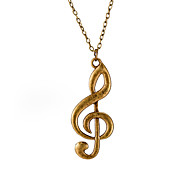 cheap -Women's Geometric Music Notes Personalized Fashion Pendant Necklace Chain Necklace Silver Plated Alloy Pendant Necklace Chain Necklace ,