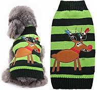Коты Собаки Свитера Одежда для собак Зима Северный олень Милые Мода Рождество Зеленый