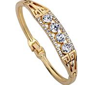 Women's Cuff Bracelet Imitation Diamond Geometric Rhinestone Alloy Circle Jewelry For Daily Stage