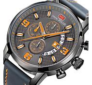 Men's Military Watch Fashion Watch Wrist watch Japanese Quartz Leather Band Black Grey