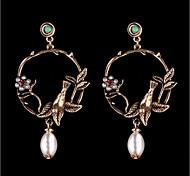 Women's Drop Earrings Hoop Earrings Imitation Pearl Flower Style Flowers Elegant Floral Alloy Flower Jewelry For Party Date
