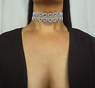 cheap -Women's Rhinestone Choker Necklace - Acrylic Diamond Euramerican Fashion Double-layer Single Strand Silver Necklace For Daily Casual