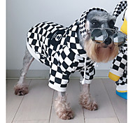 cheap -Cat Dog Hoodies Dog Clothes New Year Birthday Cultural Unusual Casual/Daily Fashion Plaid/Check White/Black Costume For Pets