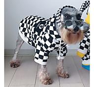 Недорогие -Кошка Собака Худи Одежда для собак Новый год День рождения Этнический мотив Необычные На каждый день Мода В клетку Белый/Черный Костюм