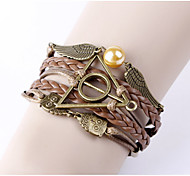 Men's Women's Leather Bracelet Handmade Personalized Leather Alloy Wings / Feather Jewelry For Daily Going out