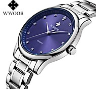 WWOOR Men's Casual Watch Quartz Water Resistant / Water Proof Stainless Steel Band Casual Elegant Silver