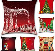 cheap -6 pcs Cotton/Linen Pillow Case Pillow Cover,Christmas Fashion Novelty Traditional/Classic Euro Retro Christmas
